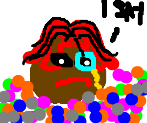 a meatball with a monocle in a ball pit