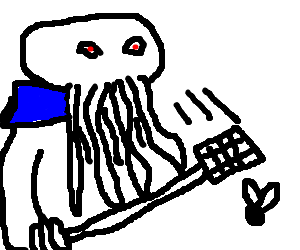 Cthulu in a blue collar swatting a fly