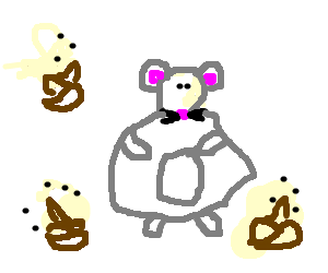 Mouse wearing fat suit surrounded by turds