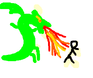 a dragon breathing fire on a person running away