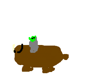 Yoda riding on a Yak