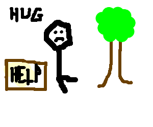 Homeless amputee unable to hug tree