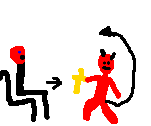 devil steals a cross from a shitting priest