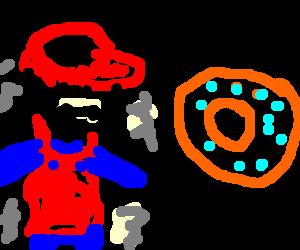 Mario refuses doughnuts in fear