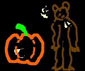 Bear costume for sale, the pumpkin scoffs.