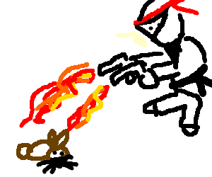 white ninja squirts lava at bunny with water gun