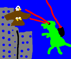 godzilla with laser attacked by eagle in city