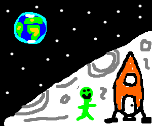 green guy on the moon with a rocket