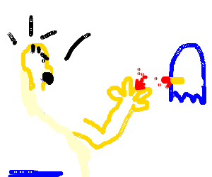 Homer's finger bit off by a blue pacman ghost