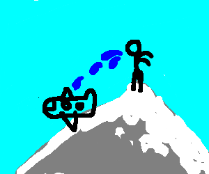 man atop mt. everest spitting on a plane