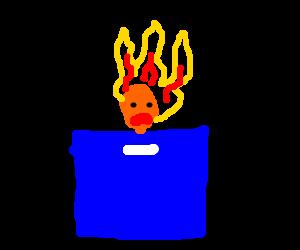 man burning on a blue box