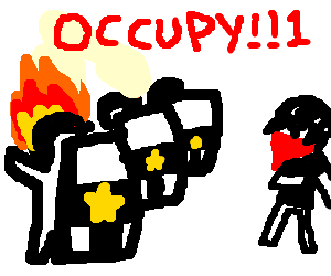 Riot cop's head is on fire