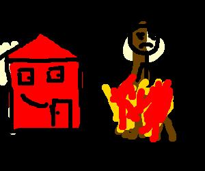 Bonfire Outside Happy House Drawing By Mathew6810 Drawception