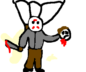 jason parachuting whilst holding a severed head