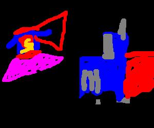 Superman in a tutu, dancing for Optimus Prime