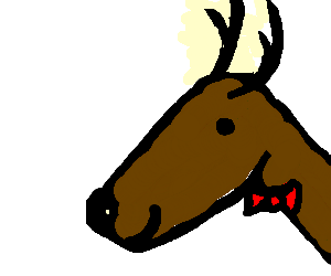 smiling deer with large antlers wearing a bowtie