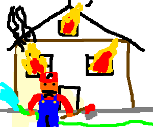 Mario fireman is to late to save the house