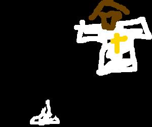 Men eating white poop while praying for Jesus