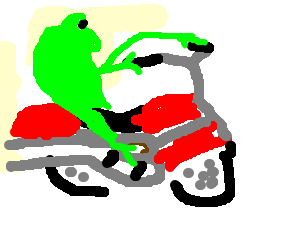 frog riding a motorcycle