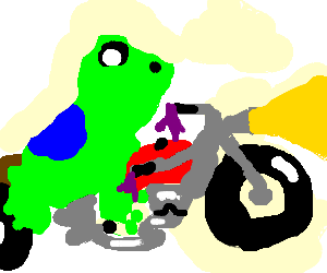 A frog riding a red motorcycle