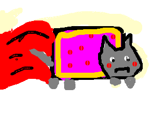 nyan cat has the sads, his rainbow is now blood