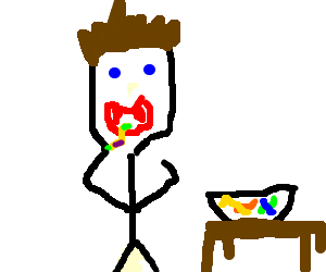 Edward eating gummy worms.