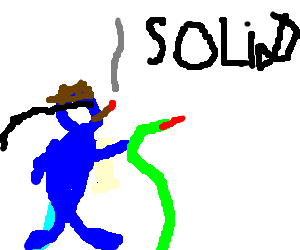 Solid Snake gets high with a snake.