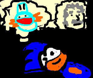 Sonic thinks he's mudkip AND einstein