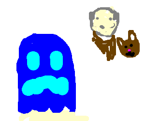 Blue ghost thinks about old man and his cat