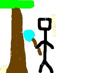 Man stabbing a tree with a shovel