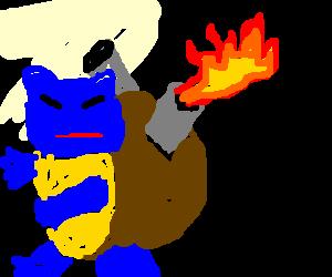Blastoise with fire