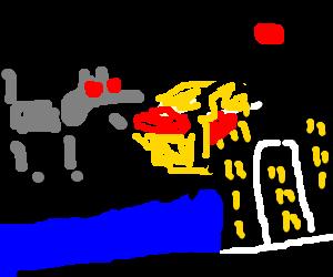 A giant terminator dog attacks Tokio