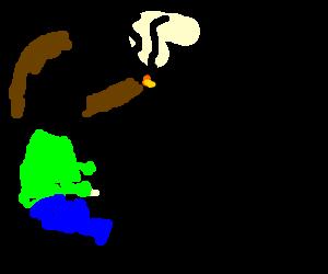 gamer smokes cigar
