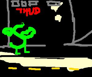 Trogdor does battle w/ black batman sans batcape