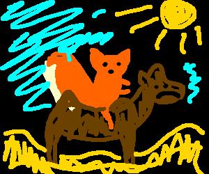 Squirrel rides sad camel in the desert