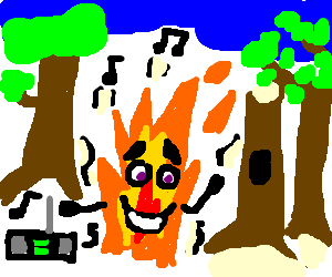 a happy flame dancing in the woods