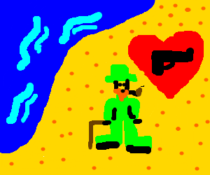 Gun loving leprecon on the beach.