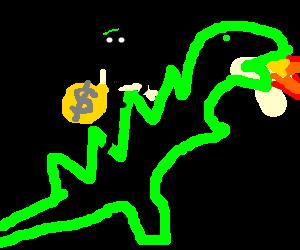 Masked bandit uses Godzilla as getaway car