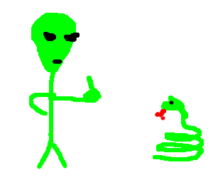 Alien getting fed up with snake breathing fire