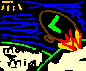 Luigi's Zeppelin crashes
