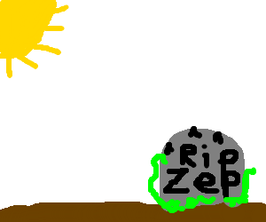 sun shining on Zep's low quality grave
