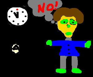 alien in a human suit frets over a deadline
