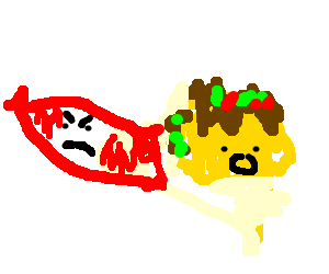 A Sausage Chasing A Taco Drawception