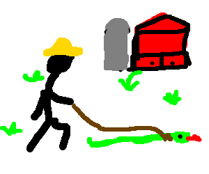 Farmer takes his snake for a late night walk