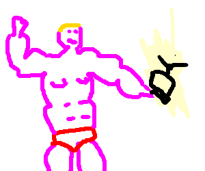muscle man holding a tiny tv