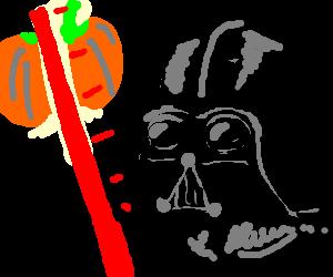 Darth Vader attacks a hovering Pumpkin