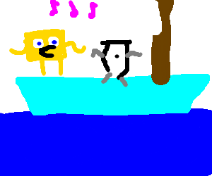 Spongebob dancing with oblivion on a boat.
