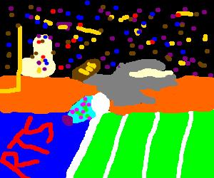 a wizard scoring a touchdown