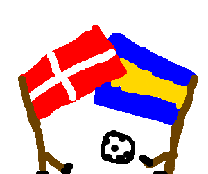 Red cross tied with blue yellow flag in soccer