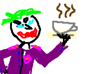 The Joker enjoys a morning coffee